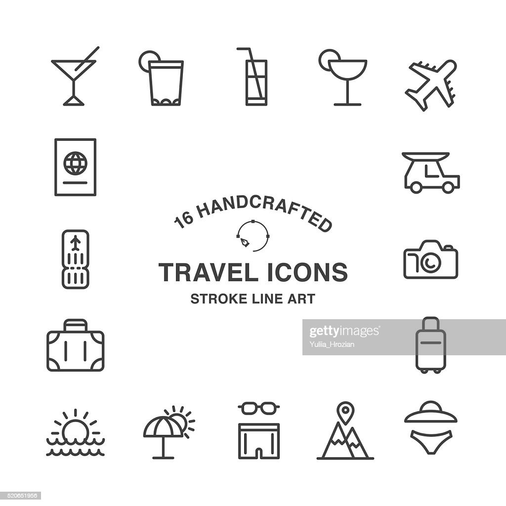 Set of 16 handcrafted travel stroke icons