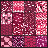 Set of 16 Heart Vector Patterns for Valentines Day