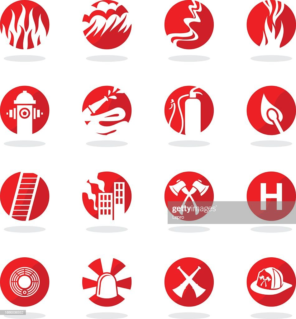 Set of 16 illustrated firefighter icons