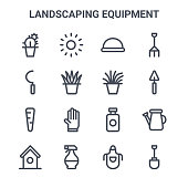 set landscaping equipment concept vector line