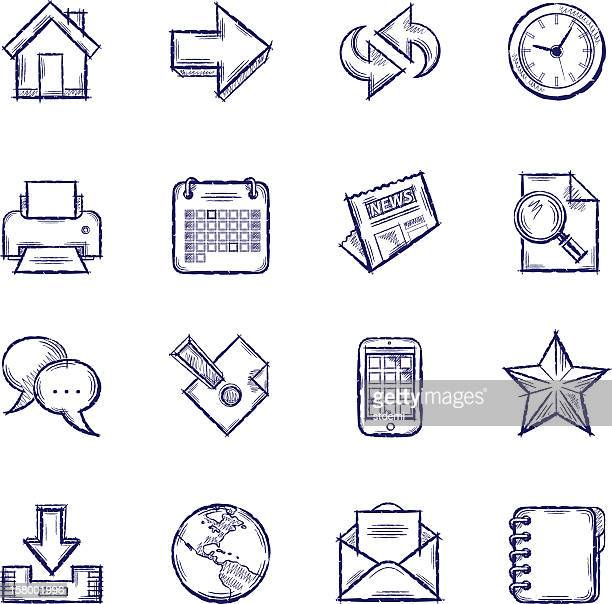 set of 16 line drawn icon graphics with internet news theme - printout stock illustrations
