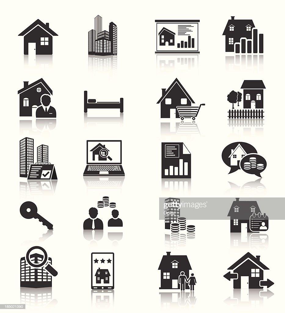 Set of 16 real estate housing icons