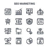 set seo marketing concept vector line