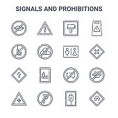 set signals prohibitions concept vector line
