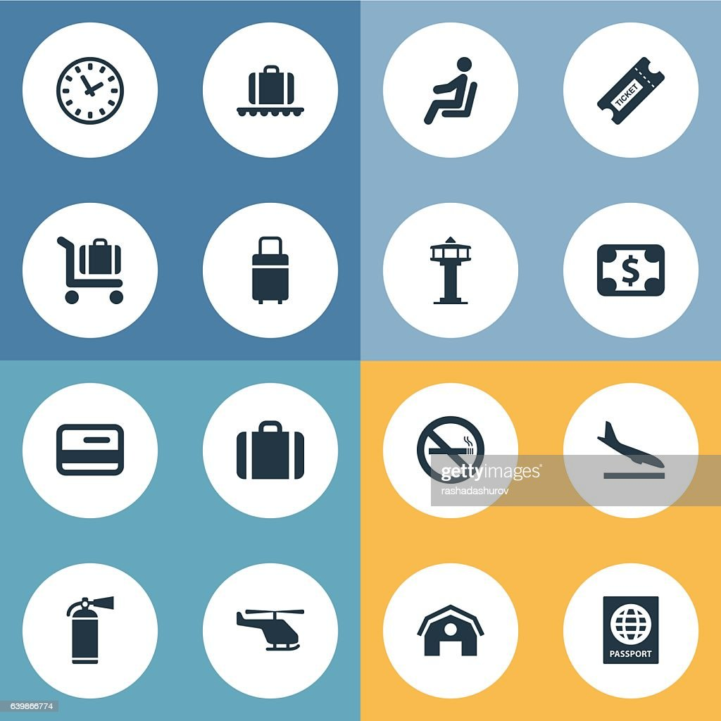 Set Of 16 Simple Airport Icons.