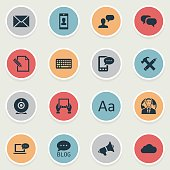 Set Of 16 Simple Blogging Icons.