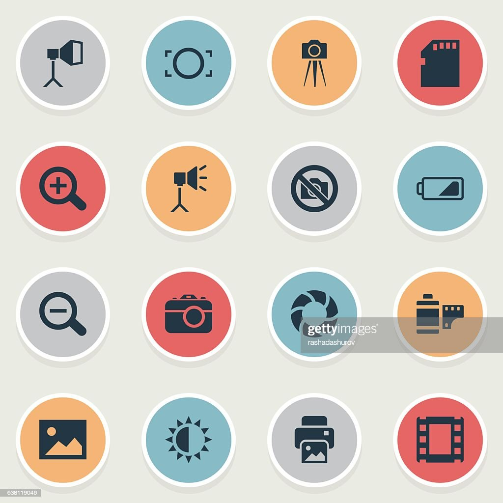 Set Of 16 Simple Photographic Icons.