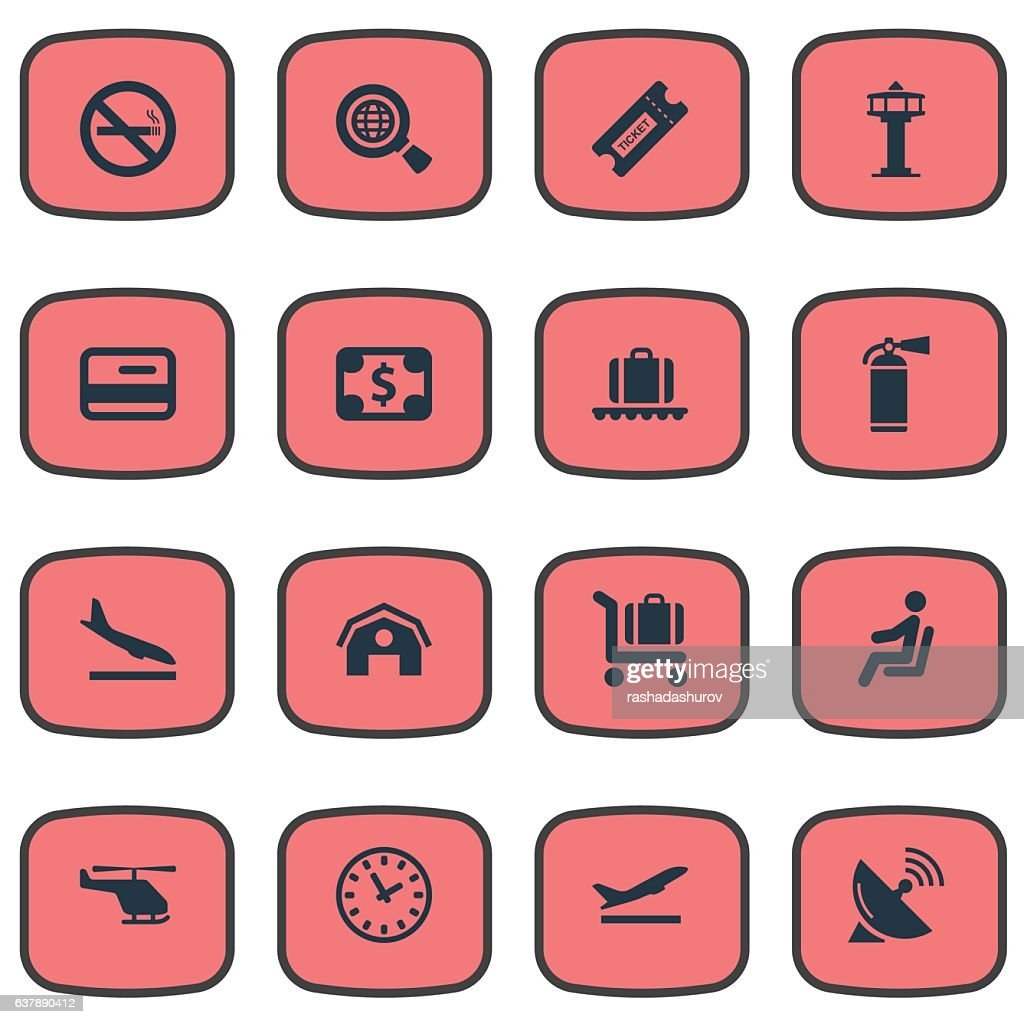 Set Of 16 Simple Transportation Icons.