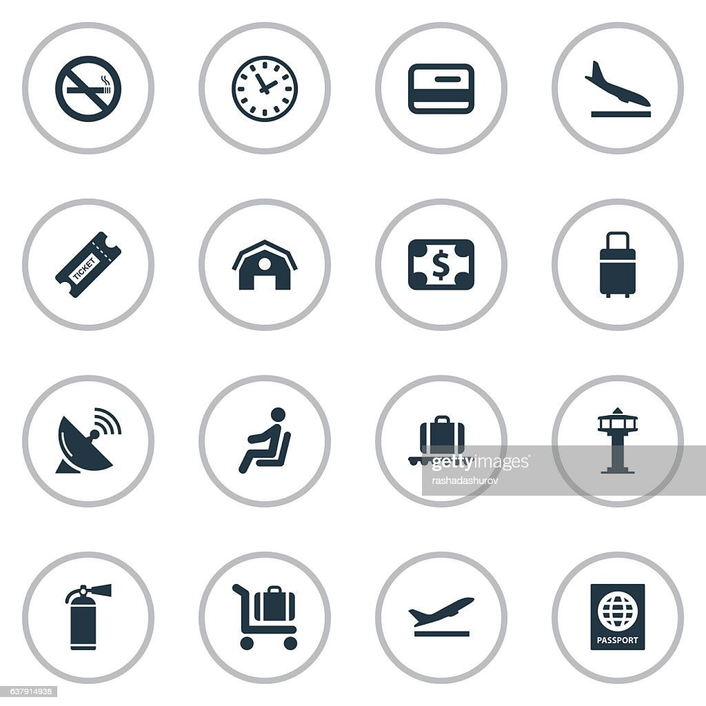 Set Of 16 Simple Travel Icons.