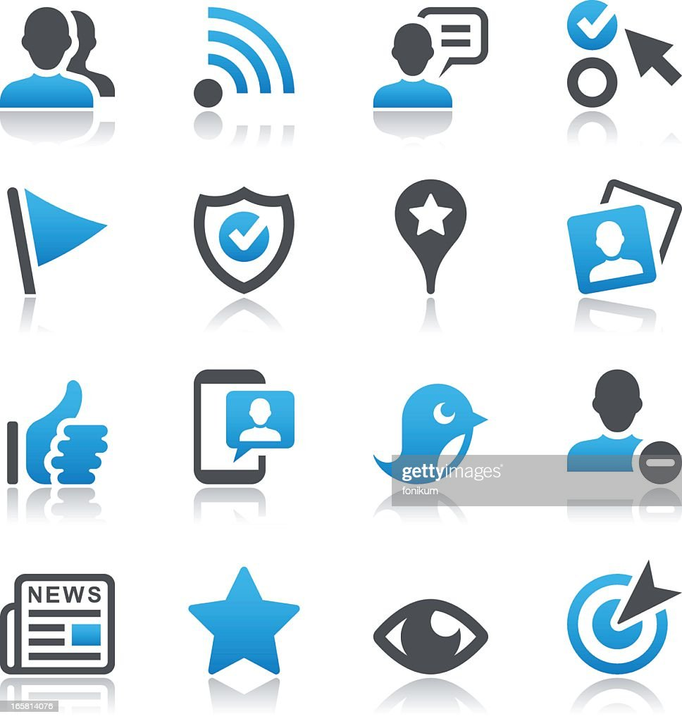 Set of 16 social networking vector icons