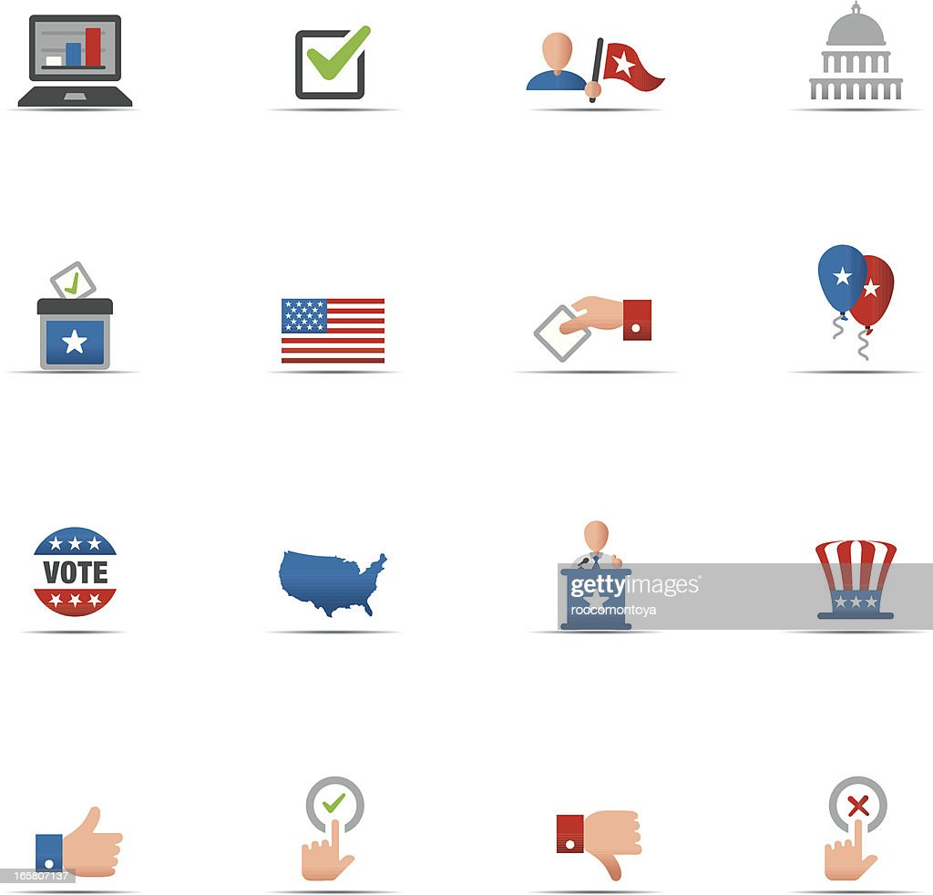 Set of 16 USA politics themed red white & blue icons