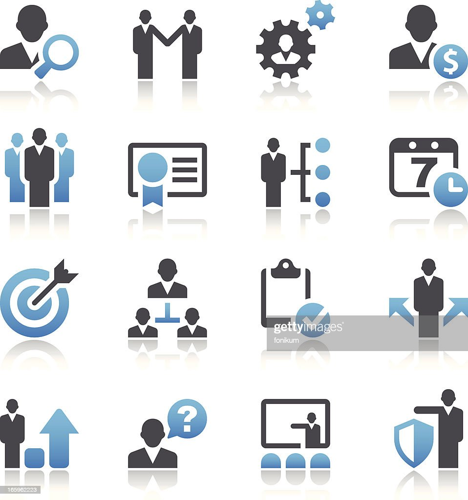 Set of 16 vector business and management icons