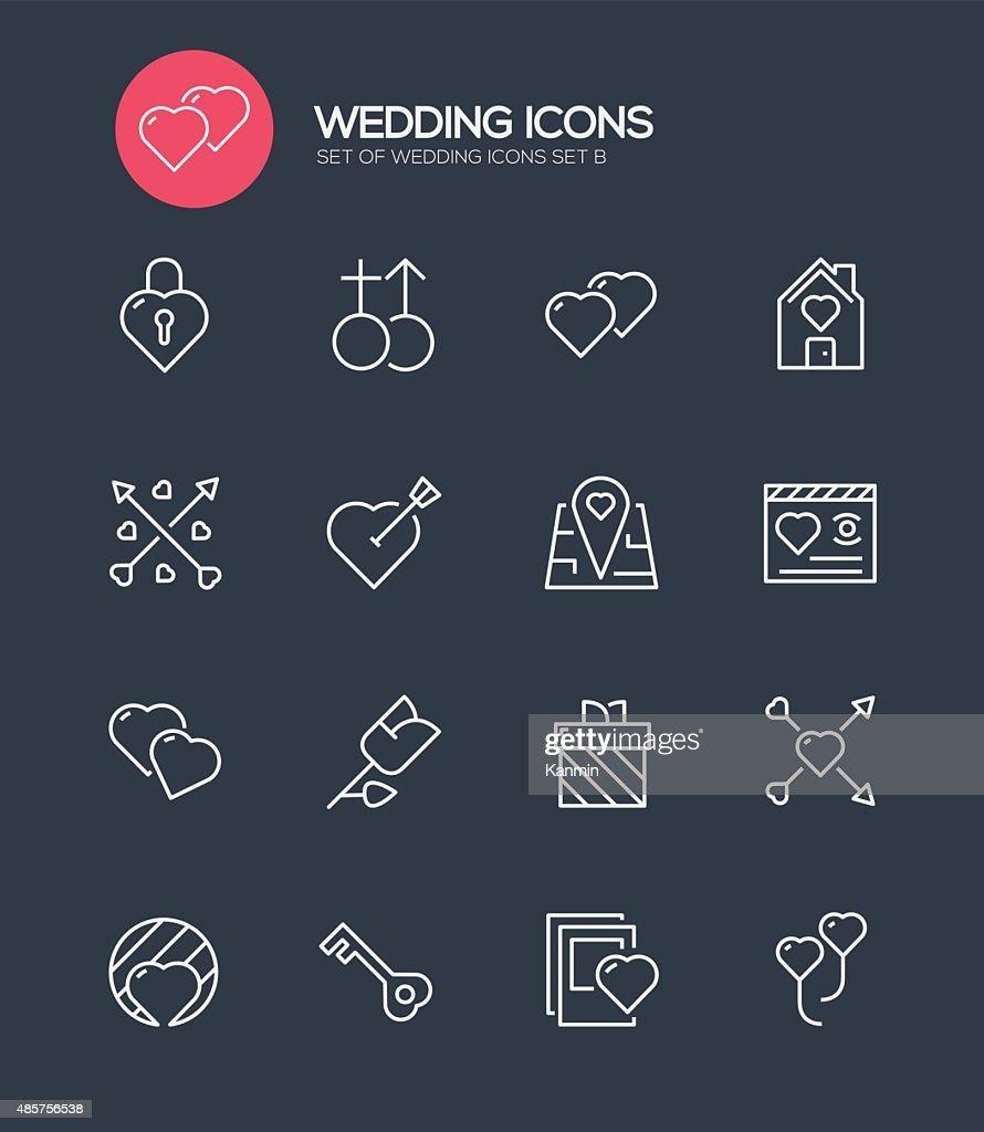 Set of 16 Wedding Modern Line icons