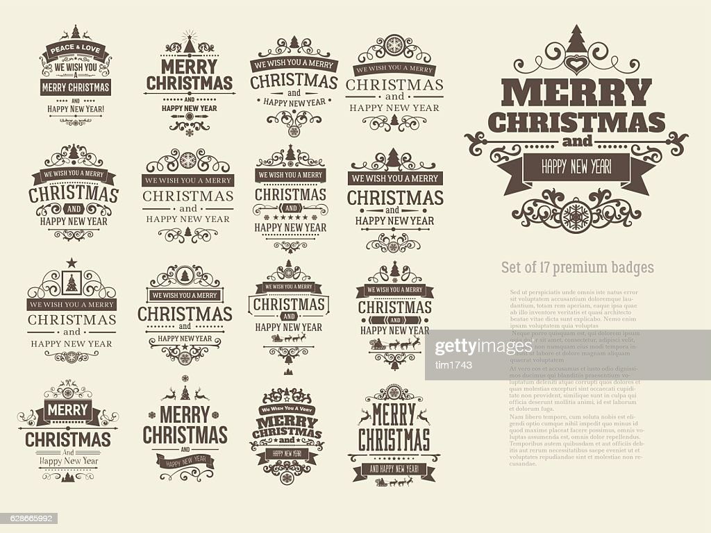 Set of 17 retro vintage Christmas badges