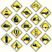 Set of 17 yellow traffic and transportation icons