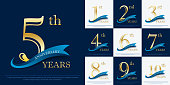 set of 1st-10th elegance golden anniversary celebration emblem with blue ribbon, anniversary logo design for web, game, poster, booklet, leaflet, flyer, magazine, greeting card and invitation card