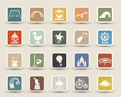A set of 20 amusement park related icons