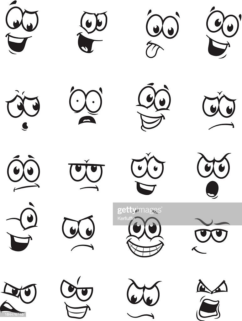 Set of 20 cartoon faces