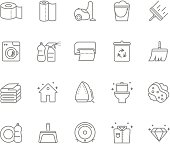 Set of 20 cleaning line icons.
