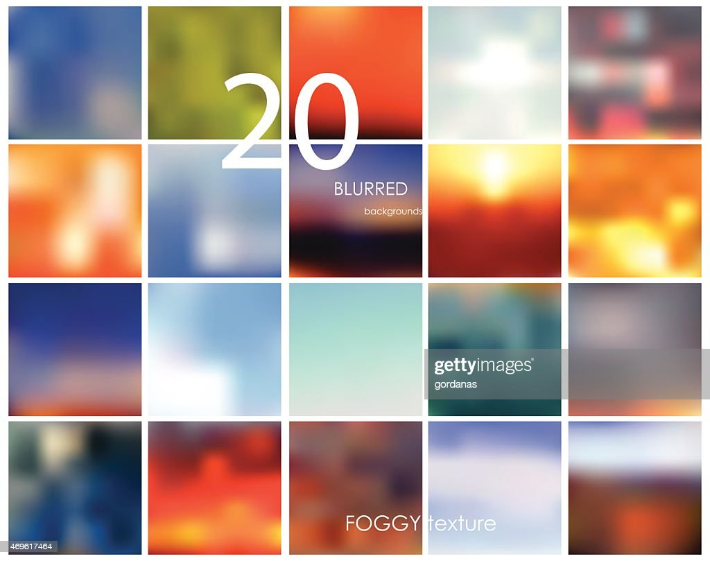 Set of 20 different square blurred backgrounds. Set No. 14.