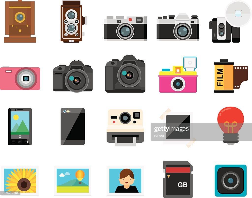Set of 20 Flat Camera and Photography icons (Kalaful series) : stock illustration