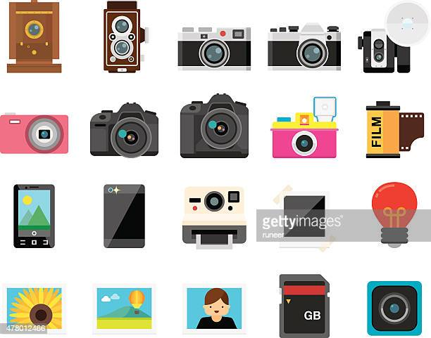 Set of 20 Flat Camera and Photography icons (Kalaful series)