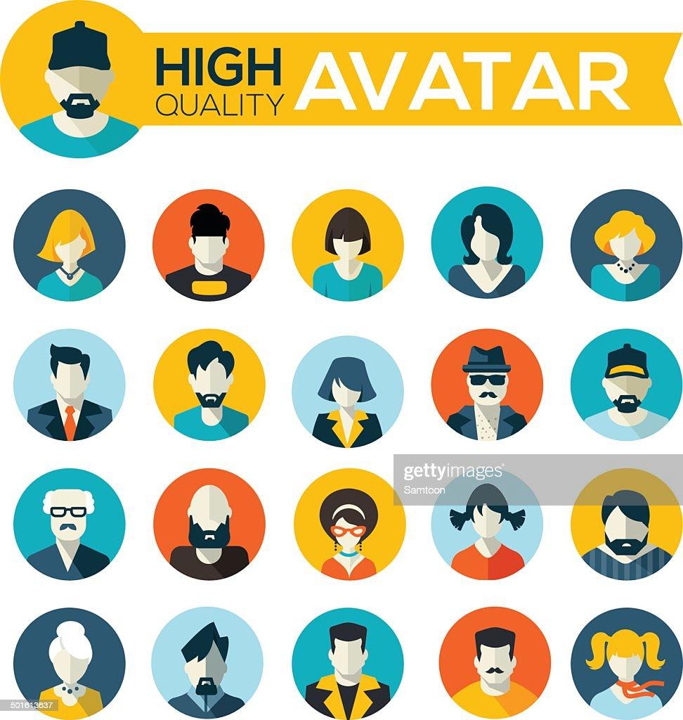 set of 20 flat design avatars icons