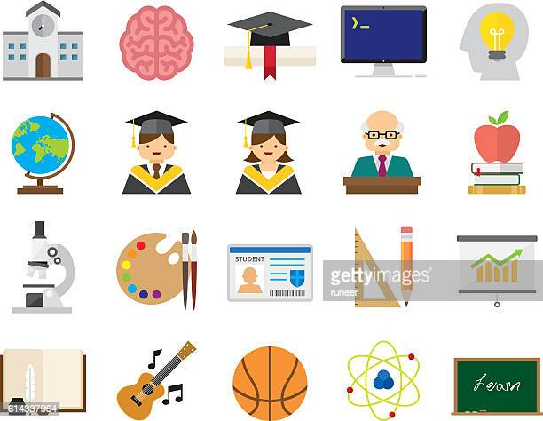 Set of 20 Flat Education icons (Kalaful series)