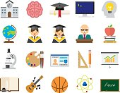Set of 20 Flat Education icons (Kalaful series)