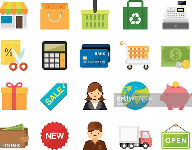 set of 20 flat shopping and retail icons (kalaful series) - lutin stock illustrations
