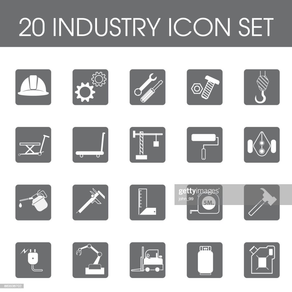 Set of 20 industry iconflat style