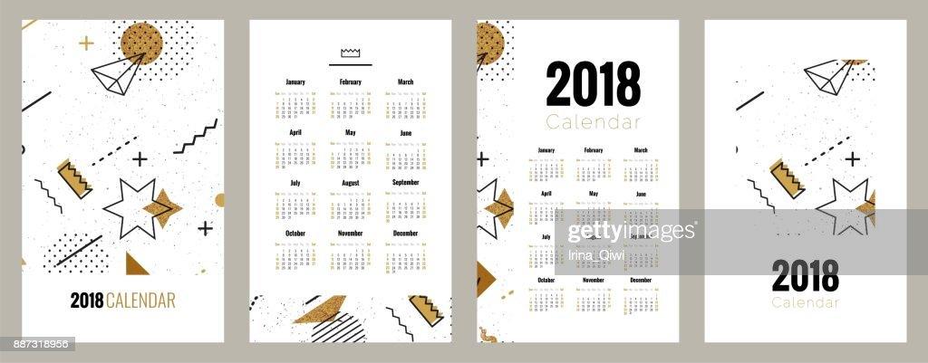 Set of 2018 planner calendar posters.