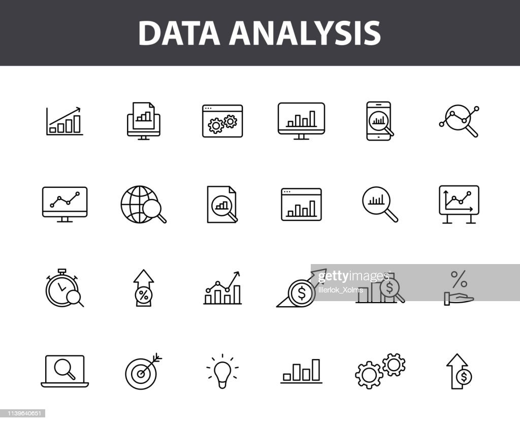 Set of 24 Data Analysis web icons in line style. Graphs, Analysis, Big Data, growth, chart, research. Vector illustration.