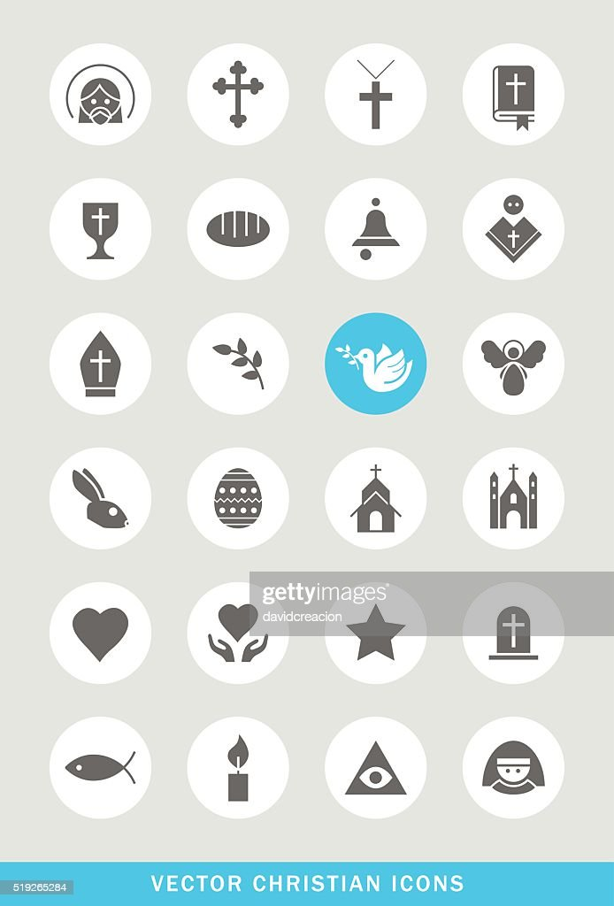 Set of 24 Universal Christian Icons.