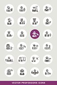 Set of 24 Universal Professions Icons.