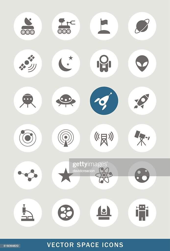 Set of 24 Universal Space Icons.