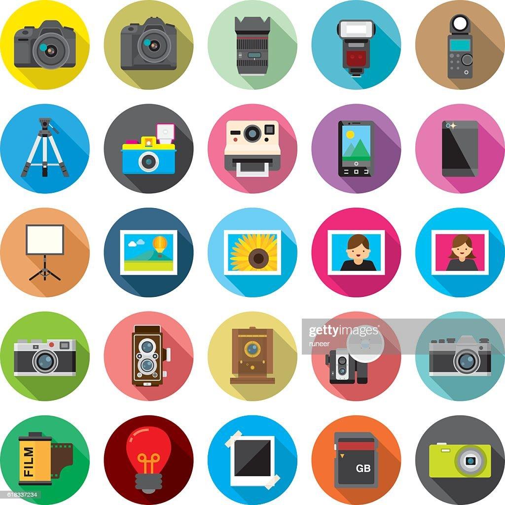 Set of 25 Flat Camera & Photography icons (Kalaful series) : stock illustration