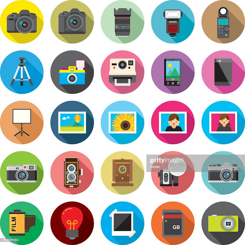Set of 25 Flat Camera & Photography icons (Kalaful series)