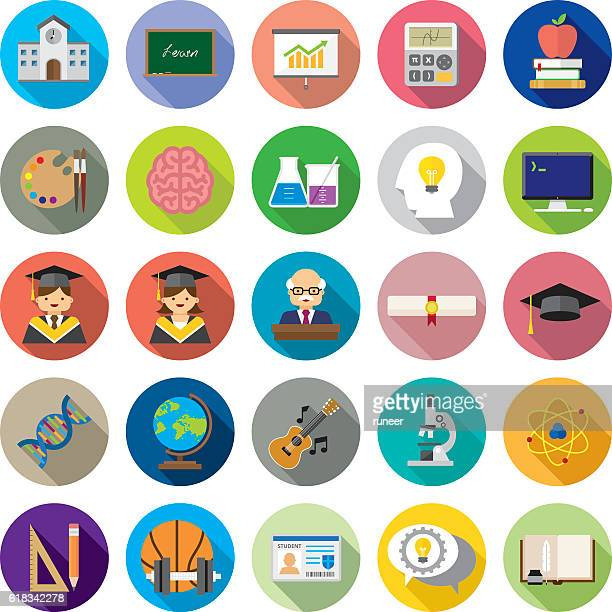 set of 25 flat education icons (kalaful series) - instructor stock illustrations