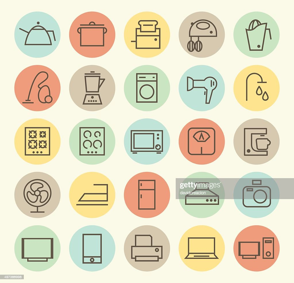 Set of 25 Home Appliances Icons.