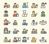Set of 25 Minimal Solid Line Colored Professions Icons.