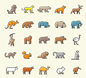 Set of 25 Minimalistic Solid Line Coloured Animal Icons . Isolated Vector Elements