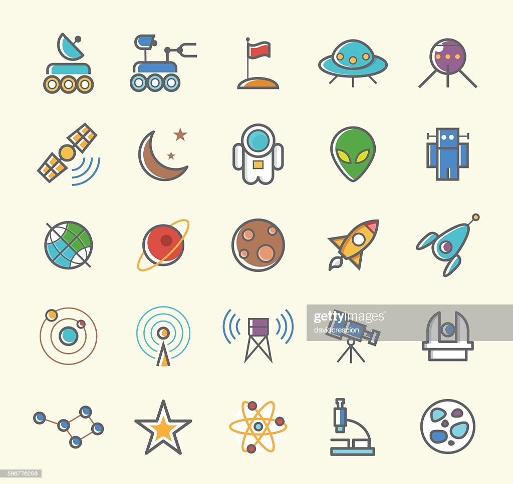 Set of 25 Minimalistic Solid Line Coloured Space Icons.