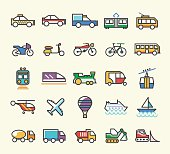 Set of 25 Minimalistic Solid Line Coloured Transport Icons.