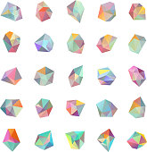 Set of 25 pastel color geometric crystal effect shapes