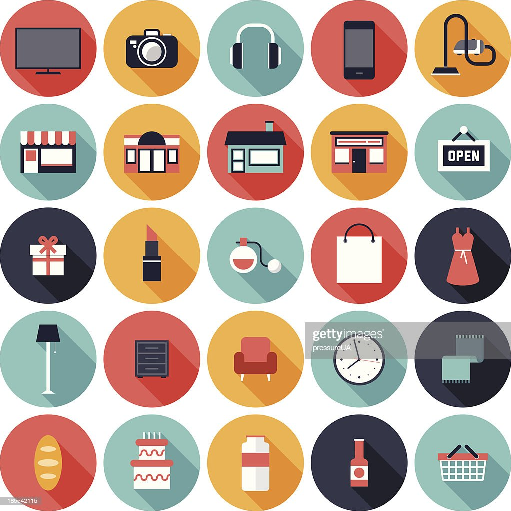 Set of 25 shopping icons in colorful circles