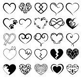 Set of 25 tattoo hearts image. Vector symbol
