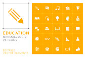 Set of 25 Universal Education Icons on Coor background . Isolated Elements