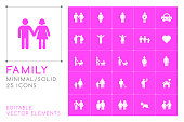 Set of 25 Universal Family Icons on Color Background . Isolated Elements