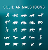 Set of 25 Universal Solid Animales Icons on Dark Background . Isolated Elements